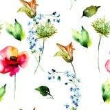 Den sömlösa modellen med den stiliserade liljan, vallmo och Gerber blommar stock illustrationer