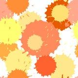 Den sömlösa modellen med färgpulver- och målarfärgfläckar, vektor plaskade bakgrund, guling och apelsinen Stock Illustrationer