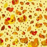 Den sömlösa modellen med fåglar, blad, moln, regn tappar, paraplyet, ekollonar Bakgrund för vektorhösttema färgrika droppar royaltyfri illustrationer