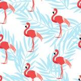 Den sömlösa modellen med flamingo och gömma i handflatan filialer Prydnad för textil och inpackning vektor Arkivfoton