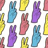Den sömlösa modellen med händer med två fingrar gör en gest upp Bakgrund med fredsymbol Royaltyfri Bild
