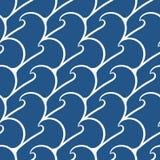 Den sömlösa modellen med havet vinkar på ett mörker - blå bakgrund royaltyfri illustrationer