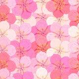 Den sömlösa modellen med inga mellanrum Sakura är blomman vektor Arkivbilder