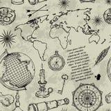 Den sömlösa modellen med jordklotet, kompasset, världskartan och vind steg Uppsättning för tappningvetenskapsobjekt i steampunkst vektor illustrationer