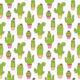 Den sömlösa modellen med kaktuns för blomningen för Ñ-ute, i olika färger lägger in, med blommor och framsidor, på en vit bakgru vektor illustrationer