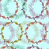 Den sömlösa modellen med kransar blommar prydnadtegelplattor av vektorblommor royaltyfri illustrationer