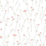 Den sömlösa modellen med lös sommar blommar på vit bakgrund som är redigerbar Arkivfoto