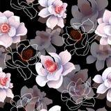 Den sömlösa modellen med magnolian blommar på en svart bakgrund också vektor för coreldrawillustration royaltyfri illustrationer