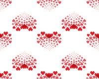 Den sömlösa modellen med röda hjärtor bildade med de lilla hjärtorna på en vit bakgrund vektor illustrationer