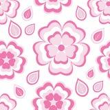 Den sömlösa modellen med rosa färger blommar sakura och sidor Royaltyfri Bild