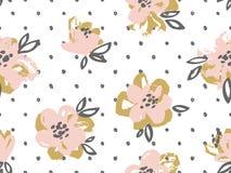 Den sömlösa modellen med rosa färger och guld blommar på prickbakgrunden vektor illustrationer