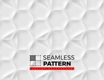Den sömlösa modellen med sexhörniga celler som göras från skuggor och ljus i origami, utformar Vit som upprepar bakgrund Royaltyfri Bild