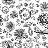 Den sömlösa modellen med snör åt, diamanter, blommor, sidor Klottret skissar Royaltyfri Bild