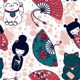 Den sömlösa modellen med traditionellt asiatiskt souvenirs^handpapper fläktar, kokeshidockor, manekineko, och sakura blommar Royaltyfri Foto
