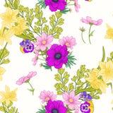 Den sömlösa modellen med vallmo blommar, påskliljor, anemoner som är violetta vektor illustrationer