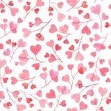 Den sömlösa modellen med vattenfärgfilialer med rosa och röd hjärta formade sidor som isolerades på vit bakgrund praktiskt vektor illustrationer