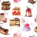 Den sömlösa modellen med vattenfärghanden målade sötsaken och smakliga kakor royaltyfri illustrationer