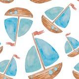 Den sömlösa modellen på ett havstema målade vattenfärgen på vita lodisar Royaltyfria Bilder
