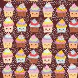 Den sömlösa modellmuffin roliga Kawaii tystar ned med rosa kinder och blinkaögon, pastellfärgade färger på choklad - brun bakgrun vektor illustrationer