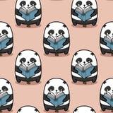 Den sömlösa pandan är läsebokmodellen stock illustrationer