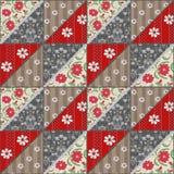 Den sömlösa patchworken snör åt den retro röda blommamodellen Royaltyfria Bilder