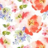 Den sömlösa sommarmodellen med vattenfärgen blommar handgjort vektor illustrationer