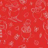 Den sömlösa tecknad filmfärgmodellen med vintersnögubben i hatten, halsduken, filtkängor, skidar med hjärta, gåvan, pilbågen, jul fotografering för bildbyråer