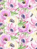 Den sömlösa vattenfärgen blommar bakgrund royaltyfri illustrationer