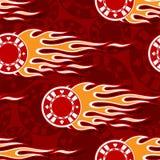 Den sömlösa vektormodellen med symbolen för kasinopokerchiper och den klassiska varma stången flammar royaltyfri illustrationer