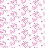 Den sömlösa vektormodellrosa färgen formar hjärtor Arkivfoton