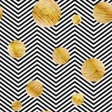 Den sömlösa vektorn med abstrakt guld blänker cirkeltextur på svartvita band Royaltyfri Bild