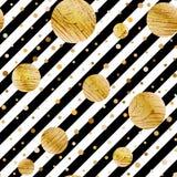 Den sömlösa vektorn med abstrakt guld blänker cirkeltextur på svartvita band Royaltyfri Foto