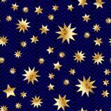 Den sömlösa vektorn med abstrakt guld blänker stjärnatextur på svarta och blåa band guld- tappning för bakgrund Arkivbilder