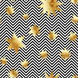 Den sömlösa vektorn med abstrakt guld blänker stjärnatextur på svartvita band guld- tappning för bakgrund Arkivbild