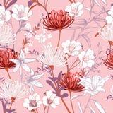 Den söta botaniska blommande trädgården blommar den oavslutade linjen teckning vektor illustrationer