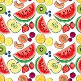 Den saftiga färgrika fruktvektormodellen, kan användas som baner stock illustrationer