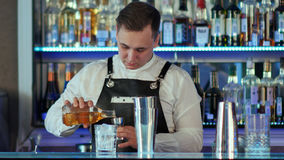 Den sakkunniga bartendern gör coctailen på nattklubben Royaltyfria Foton