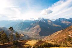 Den sakrala dalen skördade vetefältet i den Urubamba dalen i Peru Arkivfoton