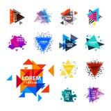 Den sakrala logoen för geometritriangelabstrakt begrepp figurerar illustrationen för vektorn för triangulumen för beståndsdelmyst stock illustrationer
