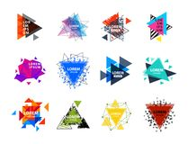 Den sakrala logoen för geometritriangelabstrakt begrepp figurerar illustrationen för vektorn för triangulumen för beståndsdelmyst Royaltyfri Fotografi