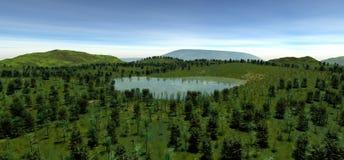 Den sakrala sjön på höjden av kullen i sommaren Royaltyfri Fotografi