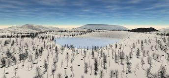 Den sakrala sjön på höjden av kullen i vintern Royaltyfria Foton