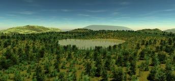 Den sakrala sjön på höjden av tiden för kulle på våren Royaltyfria Bilder
