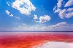 Den salt kusten av Lagunaen Salada de Torrevieja spain arkivbilder