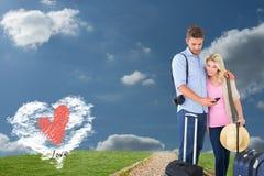 Den sammansatta bilden av attraktivt barn kopplar ihop klart att gå på semester Arkivbilder