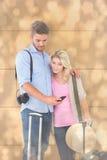 Den sammansatta bilden av attraktivt barn kopplar ihop klart att gå på semester Royaltyfria Bilder
