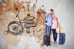 Den sammansatta bilden av attraktivt barn kopplar ihop klart att gå på semester Arkivbild