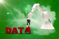 Den sammansatta bilden av bilden av den robotic armen som ordnar data, smsar 3d Arkivbild