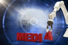 Den sammansatta bilden av bilden av den robotic armen som ordnar massmedia, smsar 3d Arkivfoto
