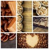 Den sammansatta bilden av chokladstycken och kaffebönor sid - förbi - sidan Arkivbild